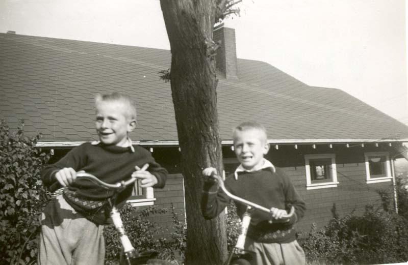 Peter and Chuck on Highbury Street Early 1950s